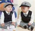 Escola estilo SY035 Frete grátis bebê terno 4 pcs cap + colete + mangas compridas top + calça xadrez bebê conjunto de roupas roupa dos miúdos de varejo