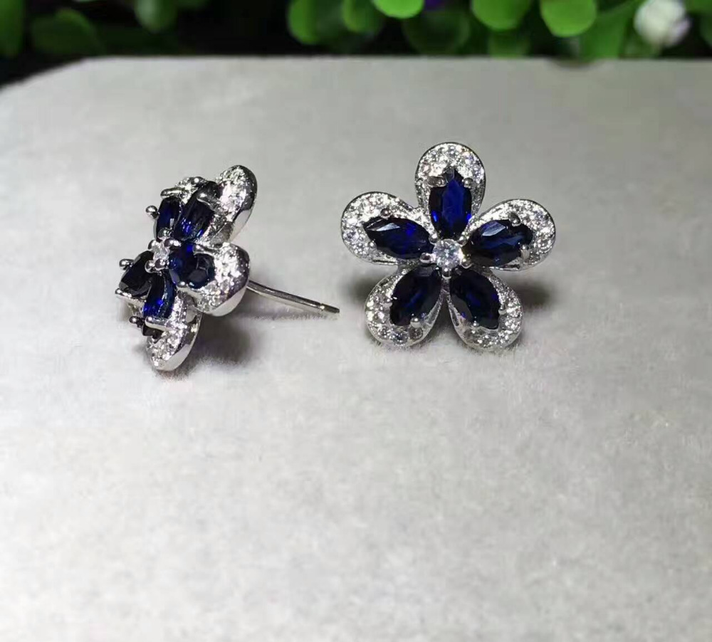 купить Natural blue sapphire stud earrings 925 silver natural gemstone earrings women fashion Flowers fine party gift Earrings jewelry онлайн