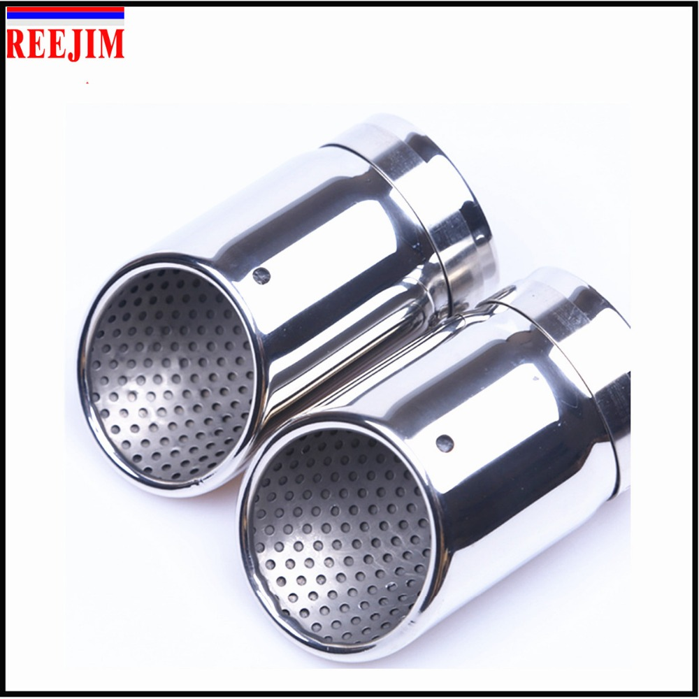 2Pcs Chrome Muffler Exhaust Tip Pipe Stainless Steel For Audi A4 Q5 B8 1.8T 2.0T