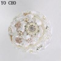 YO CHO Artificial rhinestone bridal bouquets crystal jewelry pearl rose flower bouquet silk vintage luxury wedding bouquets