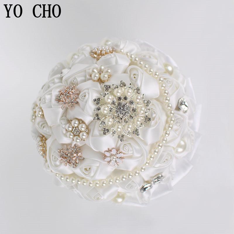 YO CHO Artificial Rhinestone Bridal Bouquets Crystal