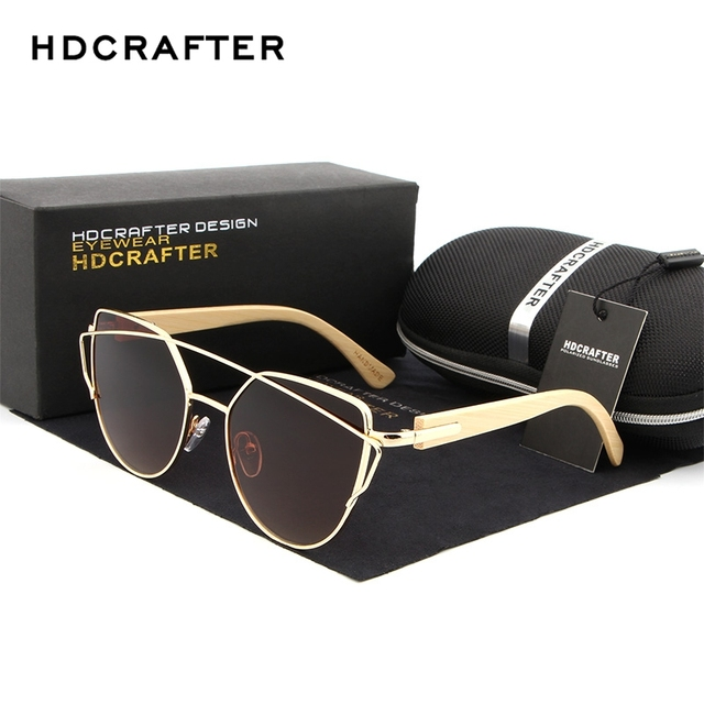 84372389c92 HDCRAFTER Cat Eye Polarized Sunglasses for Women Fashion Mirror Wood Bamboo  Legs Sunglasses Women s Brand Designer