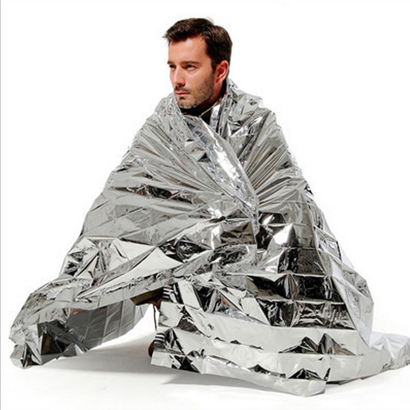 Водонепроницаемое аварийное спасательное одеяло для кемпинга, спорта, первой помощи, Серебряное спасательное одеяло, фольга, термо космический занавес для улицы        АлиЭкспресс
