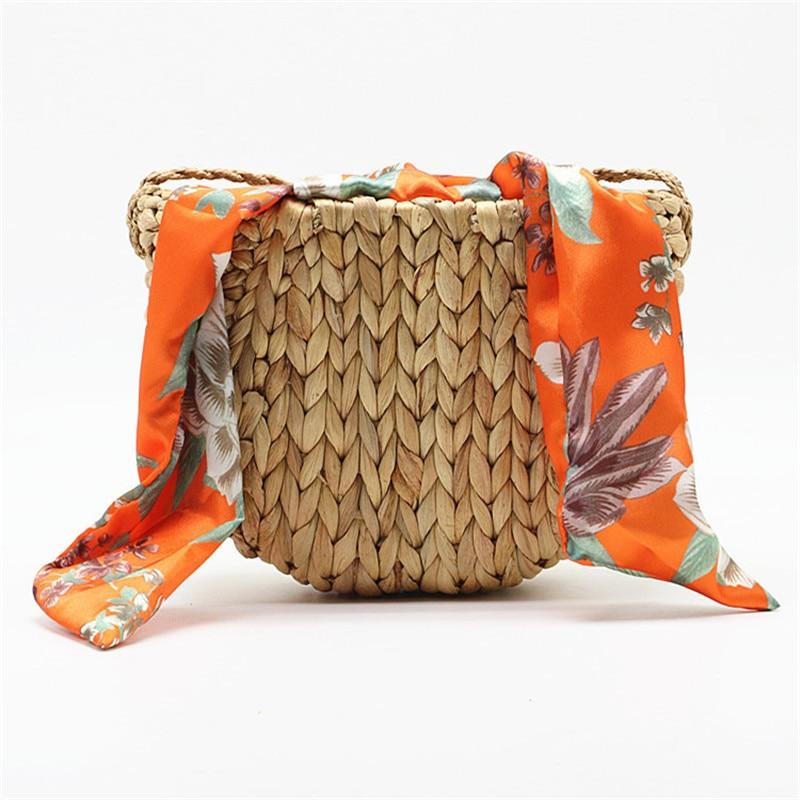 Gourd Grass Straw Bag Shoulder Crossbody Woven Bag Silk Scarf Bow Beach Bag