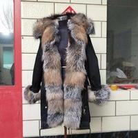 Women winter warm natural large fox fur collar real fur parka with warm thick fur parka jacket