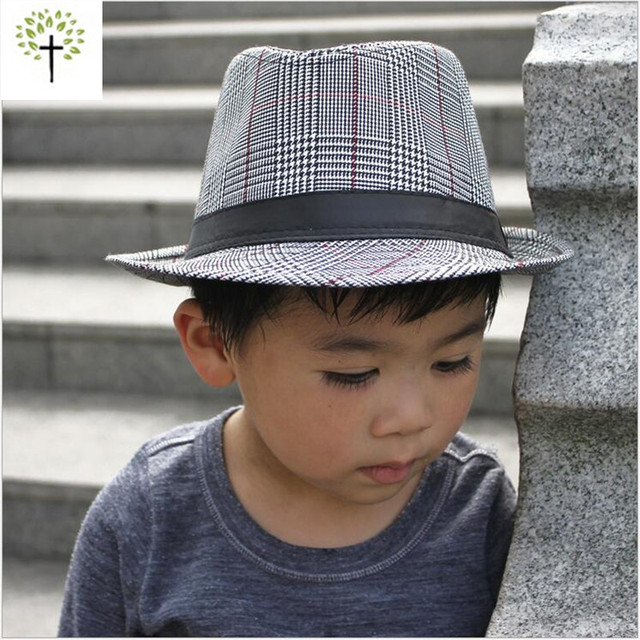 Spring Summer Classic Houndstooth Derby Trilby cowboy hat fedora cap for  children girls boys parent-child free shipping 5ea3cb51bf3