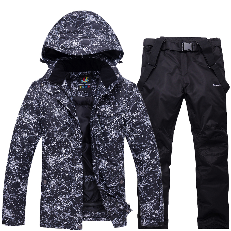 -30 Men And Women Black Or White Snow Suit Outdoor Ski Clothing Snowboarding Sets Waterproof Costume Snow Jackets And Bib Pant