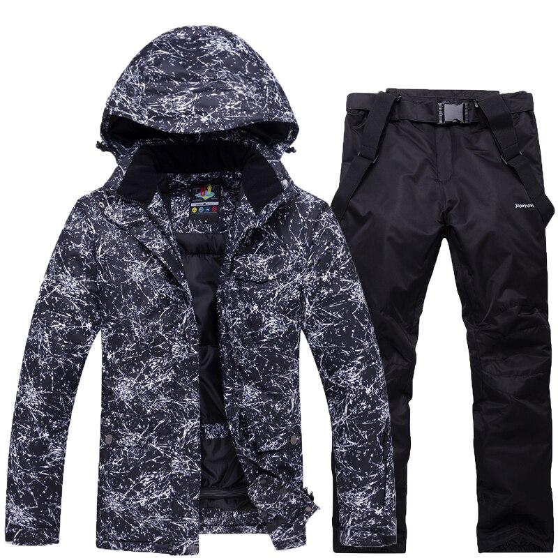 -30 hommes et femmes combinaison de neige noir ou blanc vêtements de Ski en plein air ensembles de snowboard costume imperméable vestes de neige et pantalon bavoir
