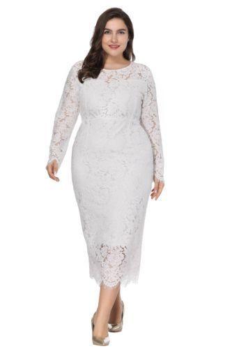 Plus Size Evening Dresses 2018 Cheap Elegant Full Lace Long Sleeve