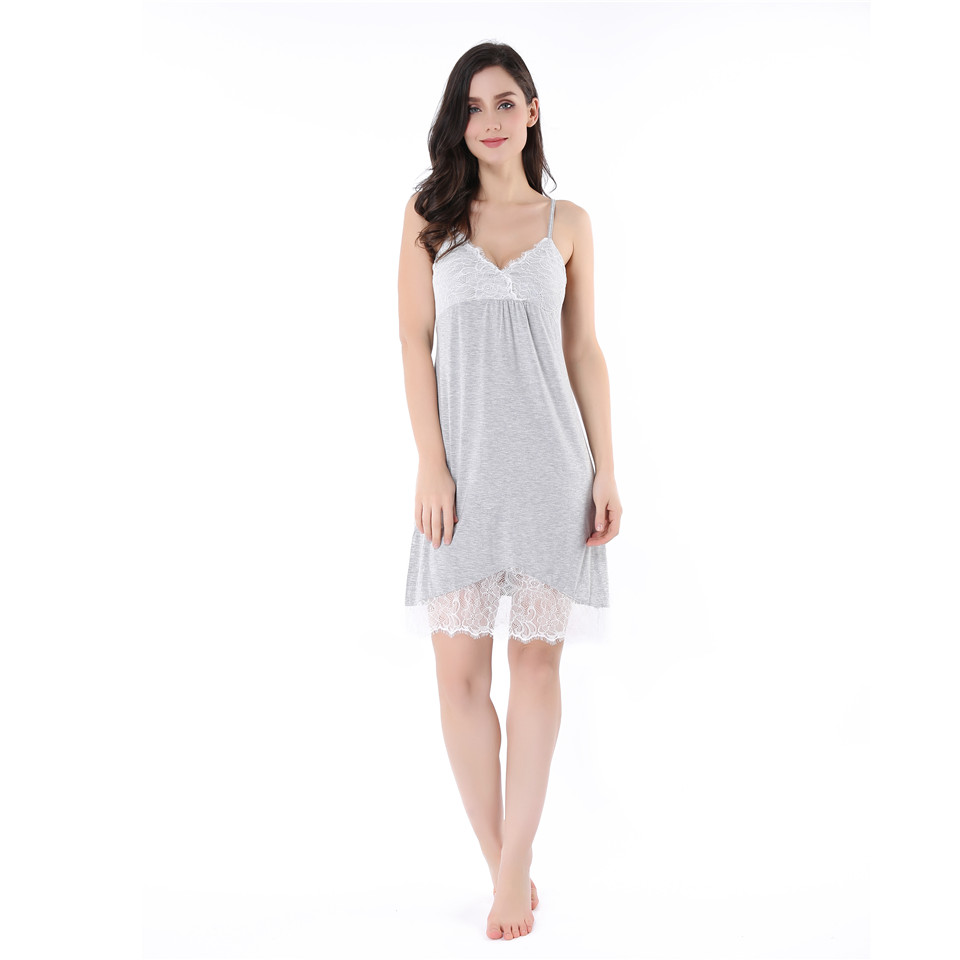Breathable Lightweight Cotton Slip Nightie V Neck Babydoll Sleepwear Patchwork Nightdress For Women