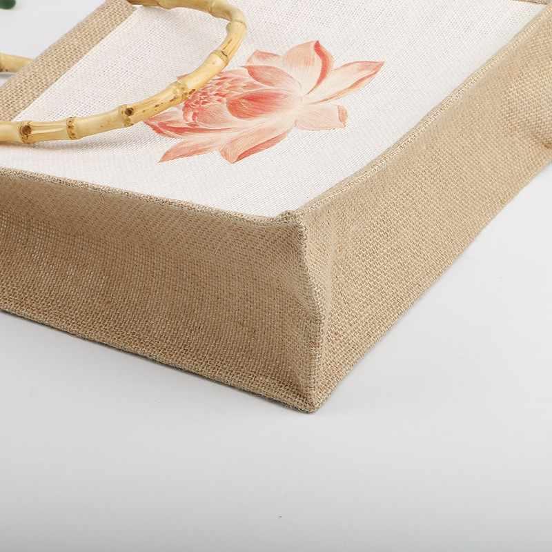 Design da marca serapilheira saco de compras água lótus grossa juta saco de armazenamento bolsa reutilizável qualidade algodão linho sacola de mercearia