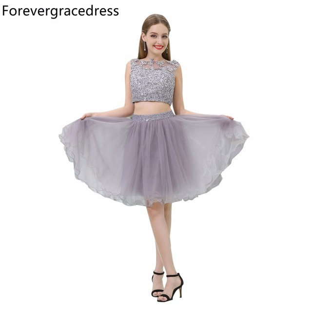 Forevergracedress Two Piece Prom Dress Sexy Sleeveless Lace Applique
