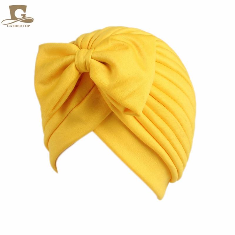 2017 Nieuwe mode vrouwen boog strik ruche tulband vrouwen haar cap - Kledingaccessoires - Foto 5