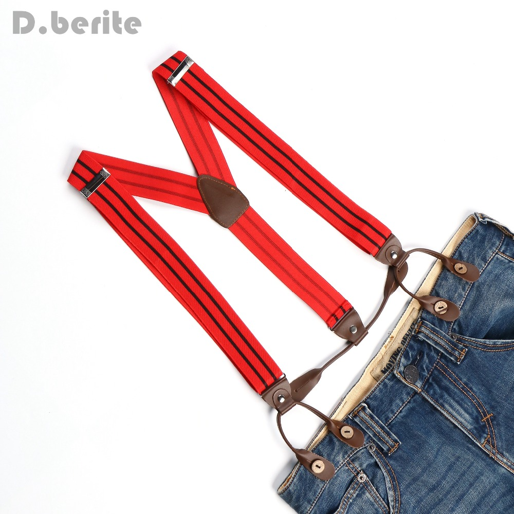 New Mens Adjustable Button Braces Unisex Suspenders Red Black Striped Womens Braces BD722