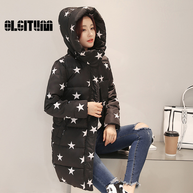 2016 Winter Women Coat Slim Fit High Neckline Lady Hooded Jacket With Star Print Regular Length Thick Warm Outfit Female Coat