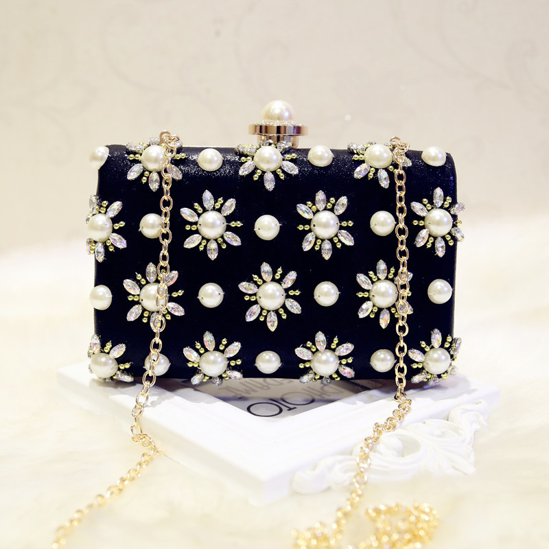 Mrs win New Arrive pochette Women Evening Bags Fashion Beaded Clutch Bag Female Wedding Clutches Purses Bolsa Feminina YHB105 kzni genuine leather purses and handbags bags for women 2017 phone bag day clutches high quality pochette bolsa feminina 9043