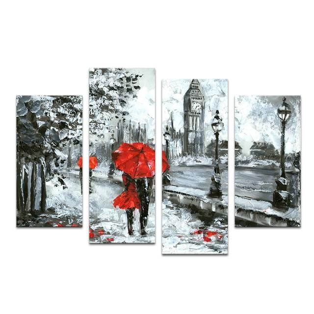 4 pieces salju musim dingin landscape pemandangan minyak lukisan fine art printing pecinta memegang payung merah