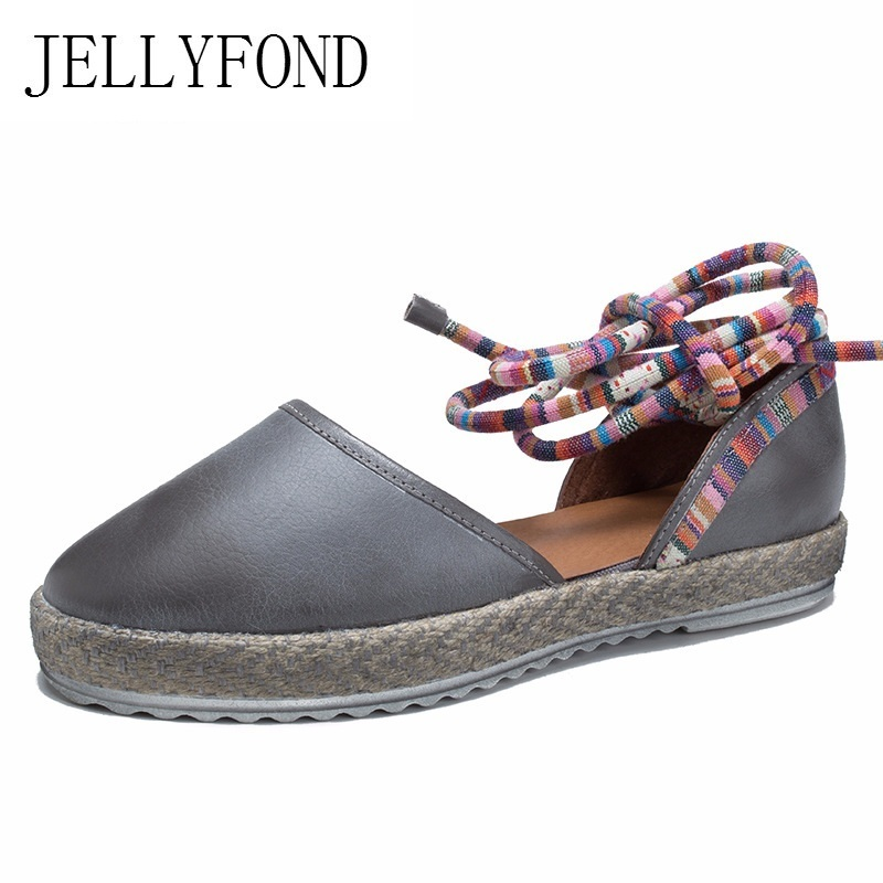 JELLYFOND 2018 Real Leather Lace Up Gladiator Sandals Women Cover Toes Low Heel Handmade Designer Summer Shoes Woman