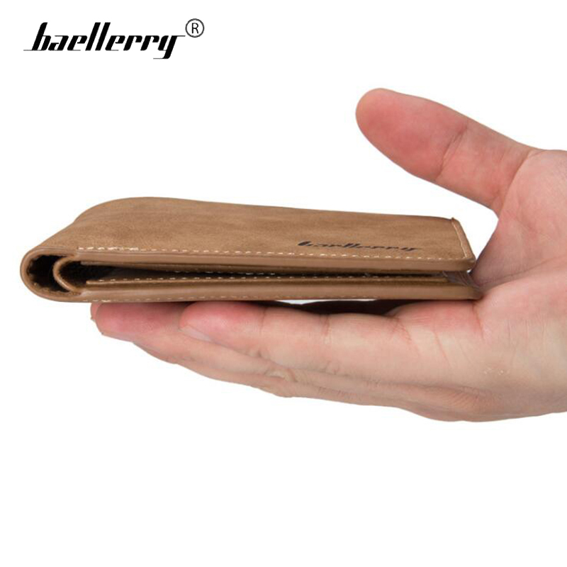 Baellerry Small Mens Wallets Vintage Dull Polish Short Dollar Price Male Cards Purse Mini Leather Men Wallet carteira masculina baellerry high quality men leather wallets vintage male wallet three hold purse for men short purses carteira masculina d9150