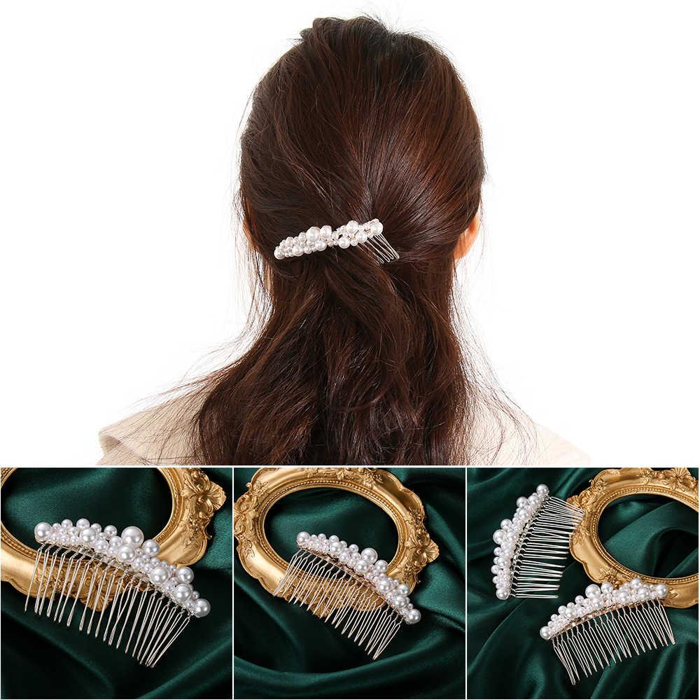 נשים פרל שיער קומבס כלה שיער אביזרי שיער פין ריינסטון נזר כלה קליפים קריסטל כתר הכלה שיער תכשיטים