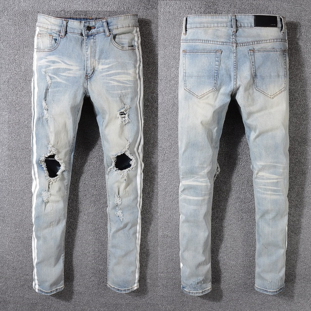 New Italy Style #5321# Men's Distressed Hollow Out Pants Mix White Sides Stripe Blue Denim Skinny Jeans Slim Trousers Size 28-40