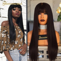 Human Hair Lace Front Wigs Brazilian Straight Hair Lace Frontal Wigs with Bangs Off Black Glueless Lace Front Wig 130% 150% 180%