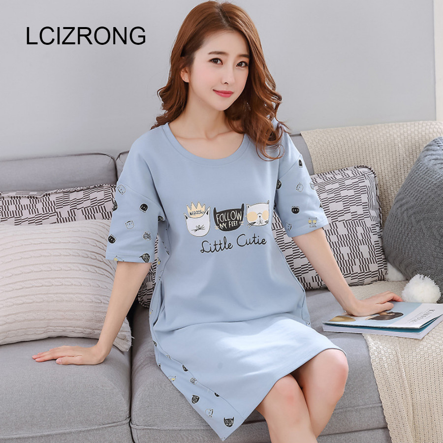 Cute Cartoon Cotton Women Nightgown Sleepwear Summer Casual Ladies Night Dress Homewear 3XL Loose Panelled With Pocket Lingerie