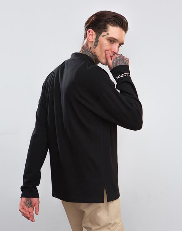 2018 High À Automne Style Mâle Hommes Nouveau Broderie Manches De Lettres Street Européen Et Split T Longues Américain shirt r8Frxw4
