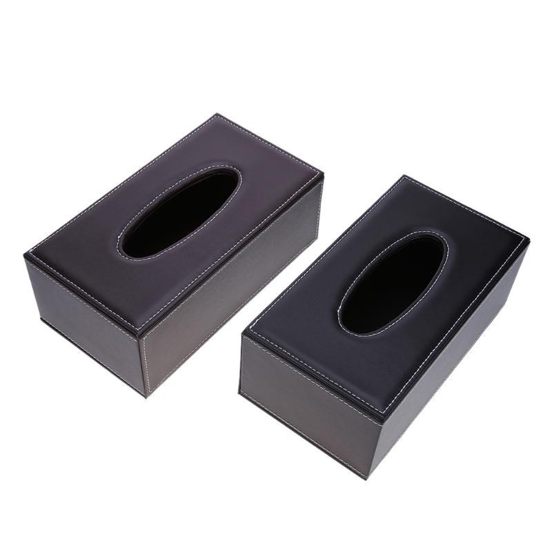 Leather Rectangle Square Tissue Box Pen Remote Storage desk organizer <font><b>Paper</b></font> Napkin <font><b>Towel</b></font> holder dispenser cover cases