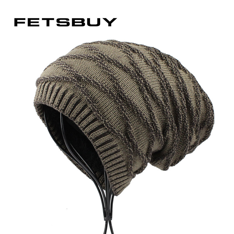 [FETSBUY] Winter Beanie Bonnet Hat Men Warm Knitted Wool Solid Cap Women Double Layer Thick Skullies Hip Hop Muts Gorros 18008