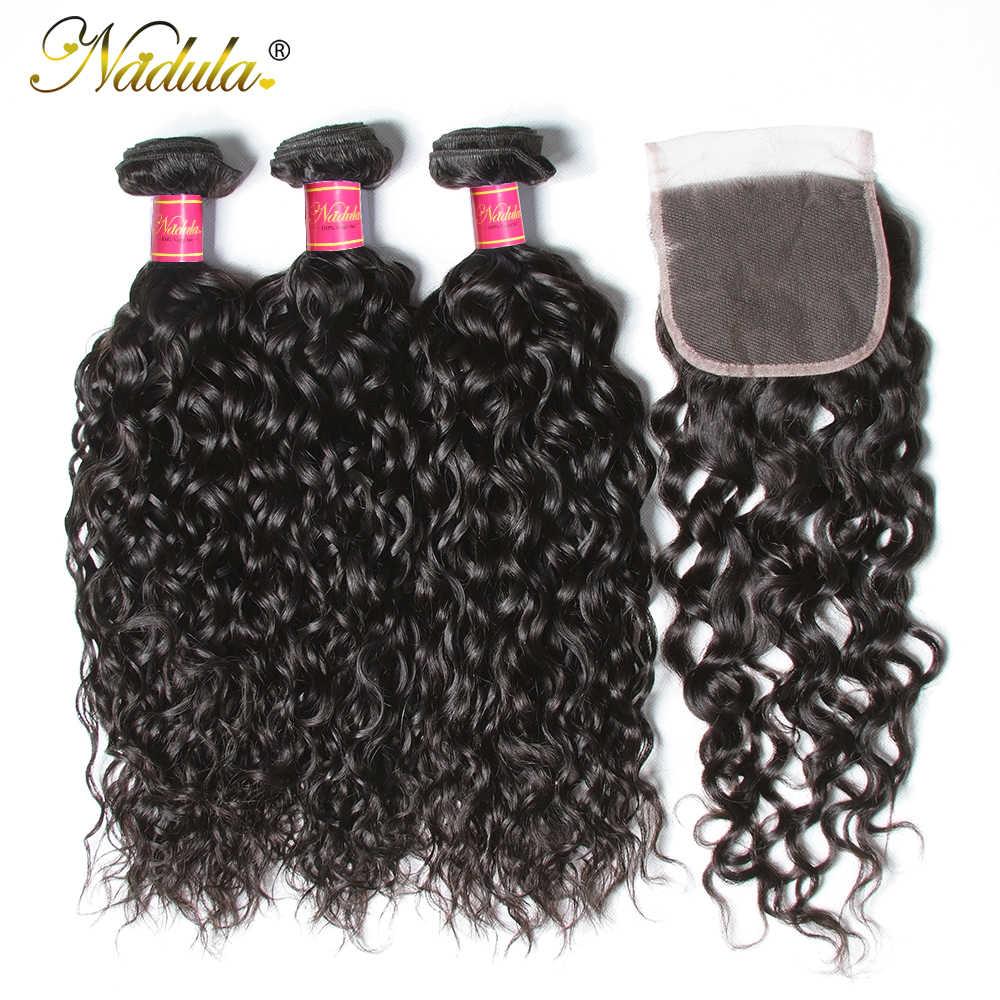 Nadula Haar Brasilianische Haar Wasser Welle Bundles Mit Verschluss 3 Bundles Mit Spitze Schließung Menschliches Haar Weave Bundles Mit Verschluss
