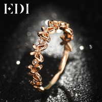 EDI Rings For Women 18K Bands Real 0.03cttw Natural H/SI Butterfly Shape Wedding Adjustable Ring Forx Fine In Fine Jewelry