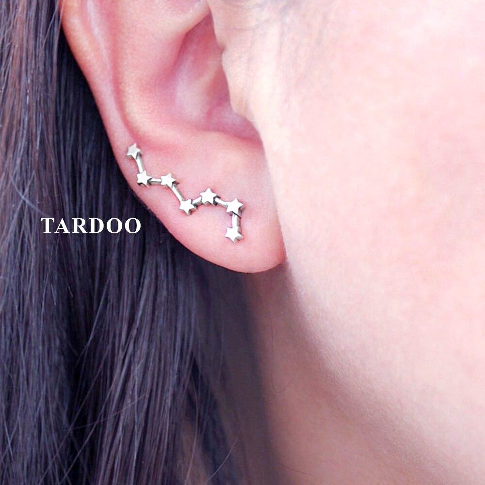 Tardoo 925 Sterling Silver Hook Earrings Seven Stars Modelling Brilliant Shining Earrings Silver 925 Jewelry for Women