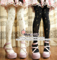 Lolita Girl Harajuku Tights Sandglass Sandy Clock Hourglass Pantyhose Black & Milk White
