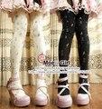 Lolita chicas Harajuku medias Sandglass reloj de arena reloj de arena pantimedias negro y blanco como la leche