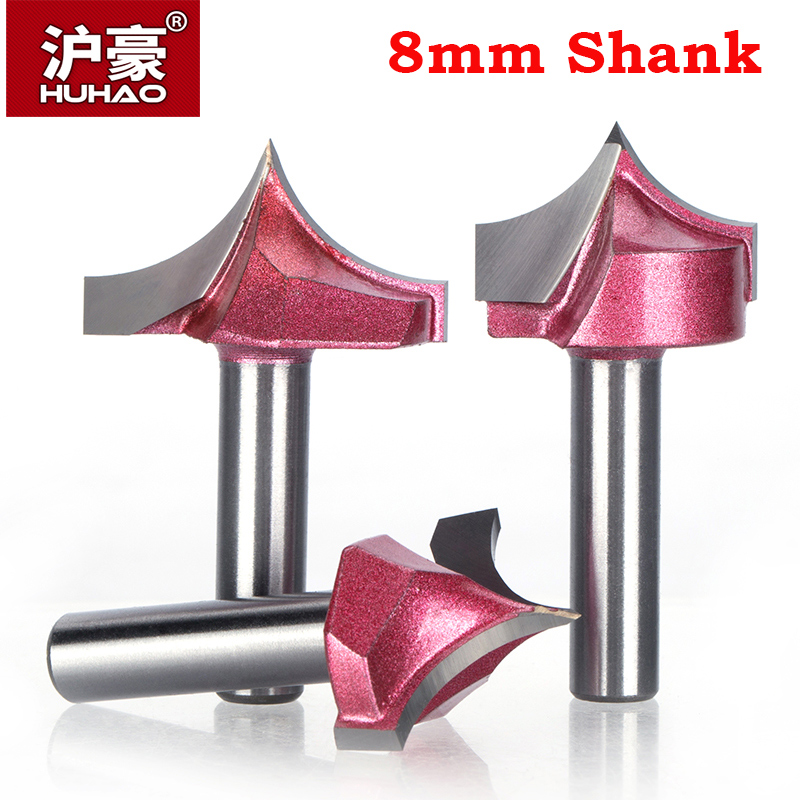 HUHAO Ipc 8mm Shank Woodworking Cutter CNC Tungsten Steel Router Bits For Wood Carbide Woodworking Engraving Tools Carving Bit