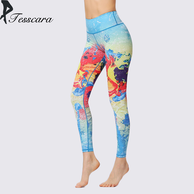 Women Leggings Sportswear <font><b>Ladies</b></font> Spandex Skinny Pants <font><b>2018</b></font> New Fashion Colorful High Waist Print <font><b>Star</b></font> Thin Causal <font><b>Sexy</b></font> Bottom image