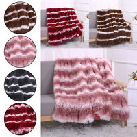 Home textile Long Plush Shaggy Silky Blankets Faux Fur Throw Double Bedspread Red Summer Quilt Throw Blanket 130*160cm/160*200cm