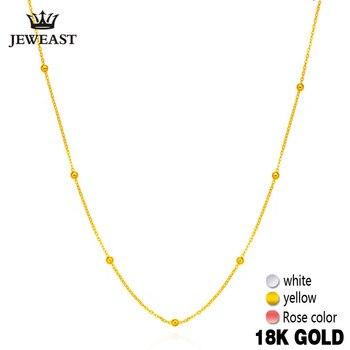 8fa1cdfb2648 18 K oro puro collar blanco amarillo Rosa cadena cuentas para mujer chica  regalo joyería fina