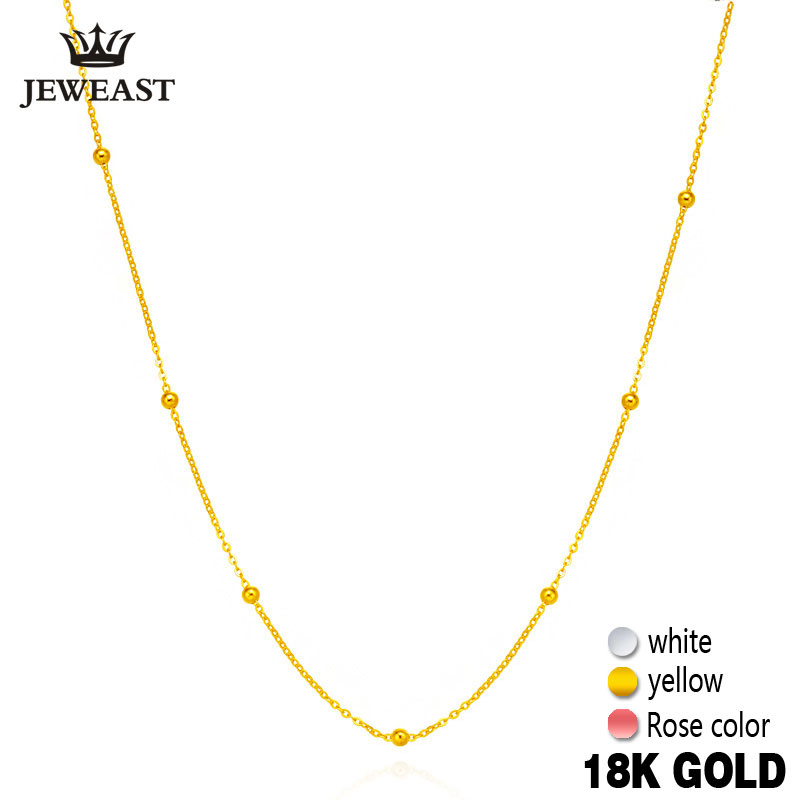 18k Pure Gold Necklace Hvit Gul Rose Chain Perler For Women Girl Gave Fine Smykker New Hot Selg Upscale Top Good Nice Like