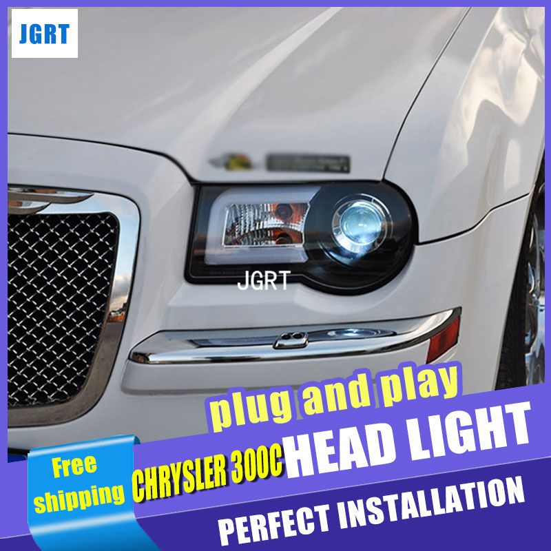 Car Styling Headlight assembly 2005-2012 for Chrysler 300C DoubleU Angel Eye LED DRL Lens Double Beam H7 hid kit with 2pcs. headlight for kia k2 rio 2015 including angel eye demon eye drl turn light projector lens hid high low beam assembly
