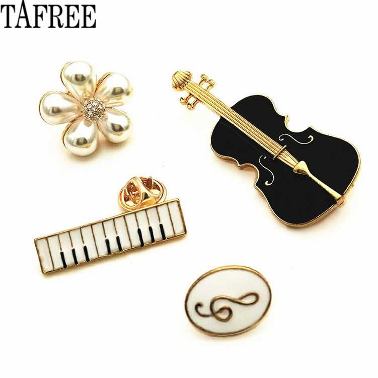 TAFREE Violin,Guitar,Piano,Pearls,Musical Note Lapel Pins Enamel Brooches Women Badge Suit for Bag Hat Collar Clips LP374