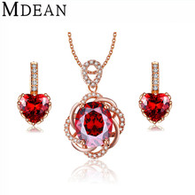 MDEAN White gold plated Heart Ruby Wedding Jewelry Sets Red  AAA Zircon Engagement Hoop Earring + Pendant fashion accessories