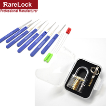 Rarelock Transparent Visible Pick Cutaway Practice Padlock Lock With Broken Key Removing Hooksa Kit Extractor Set Locksmith Tool