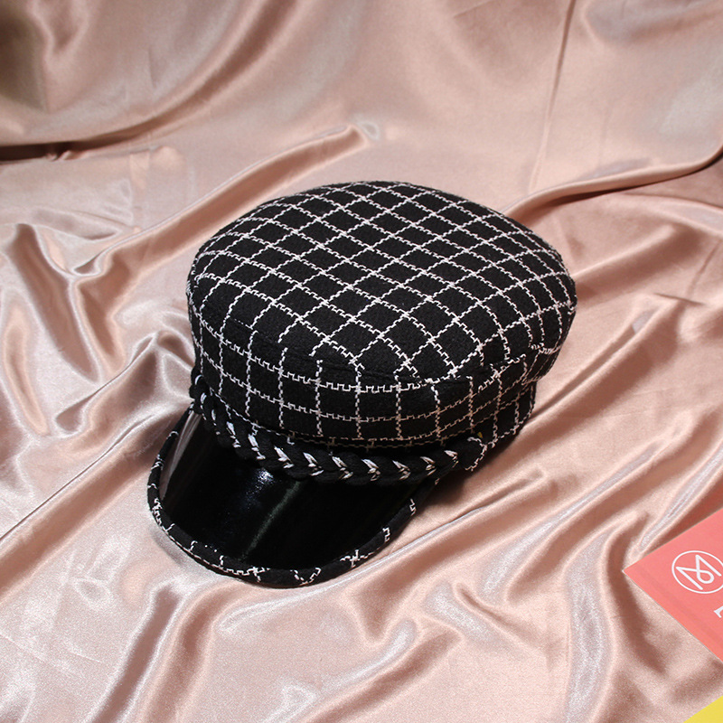 71dddb5e9bc Winter Vintage High grade PU Leather Tweed Hat Button Plaid Hats For Women  Military Hat Planas Snapback Female Casquette Cap-in Military Hats from  Apparel ...