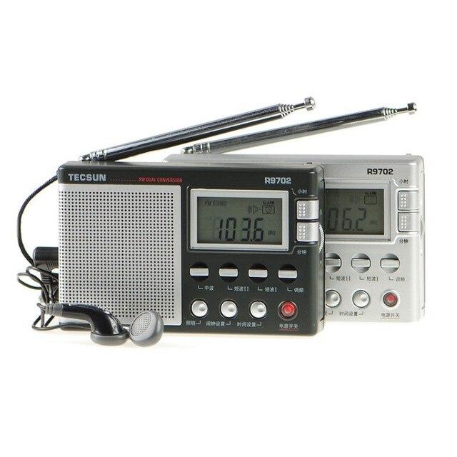 Оригинал TECSUN R-9702 с Двойным Преобразованием Fm-радио Стерео Цифровой Дисплей МВТ SW Full Band Рация Динамик С Антенной Часы