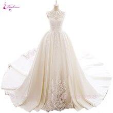 Beadings de malha de luxo lindo e elemento de grade elegante renda waulizane vestidos de casamento o decote vestidos de noiva