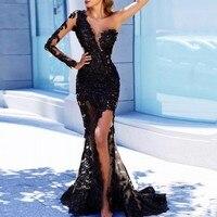 Arabian Русалка Длинные вечерние платья Черный Аппликация Длинные рукава Аппликации Вечеринка платья на одно плечо сексуальный халат de soiree