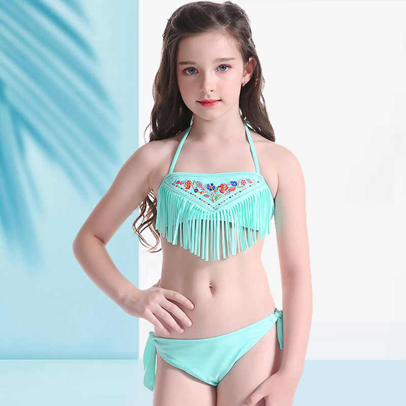 da6083ae4a kids Swimwear Tassel Lovely for girl swim wear Pattern Beach Wear Halter Bathing  Suit Bandage swimsuit