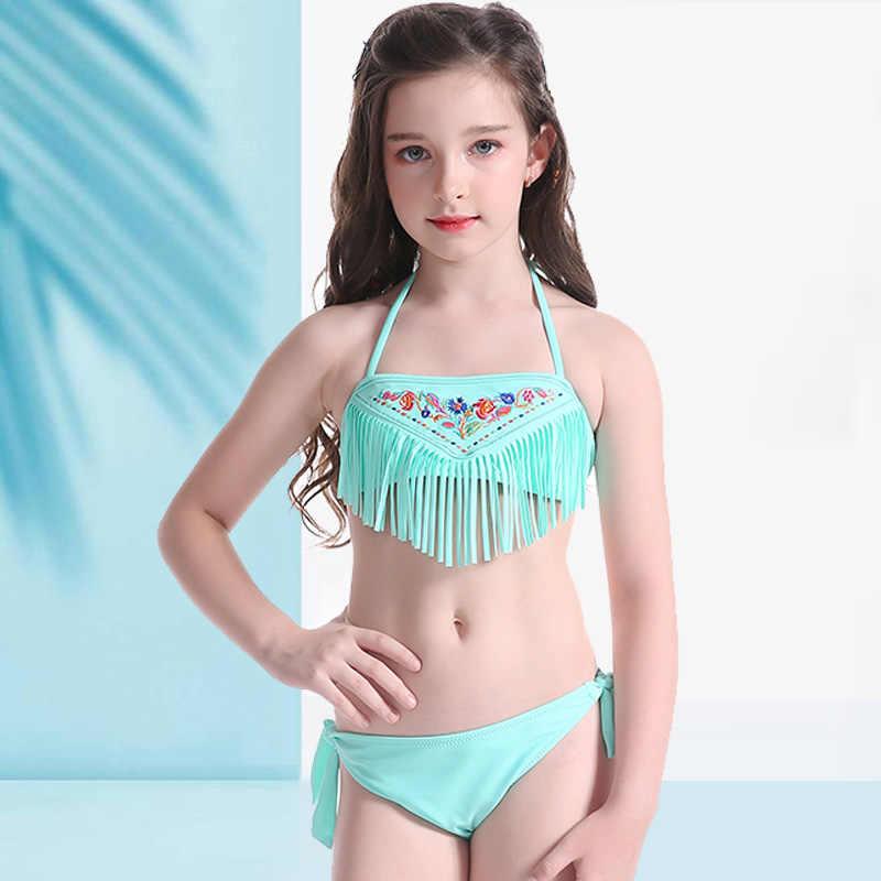 6f8710efa3bf7 kids Swimwear Tassel Lovely for girl swim wear Pattern Beach Wear Halter Bathing  Suit Bandage swimsuit